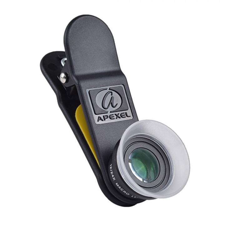 Объектив-клипса Apexel APL- 24XMH Universal Macro Photography Lenses 12-24X Super Macro для мобильных телефонов