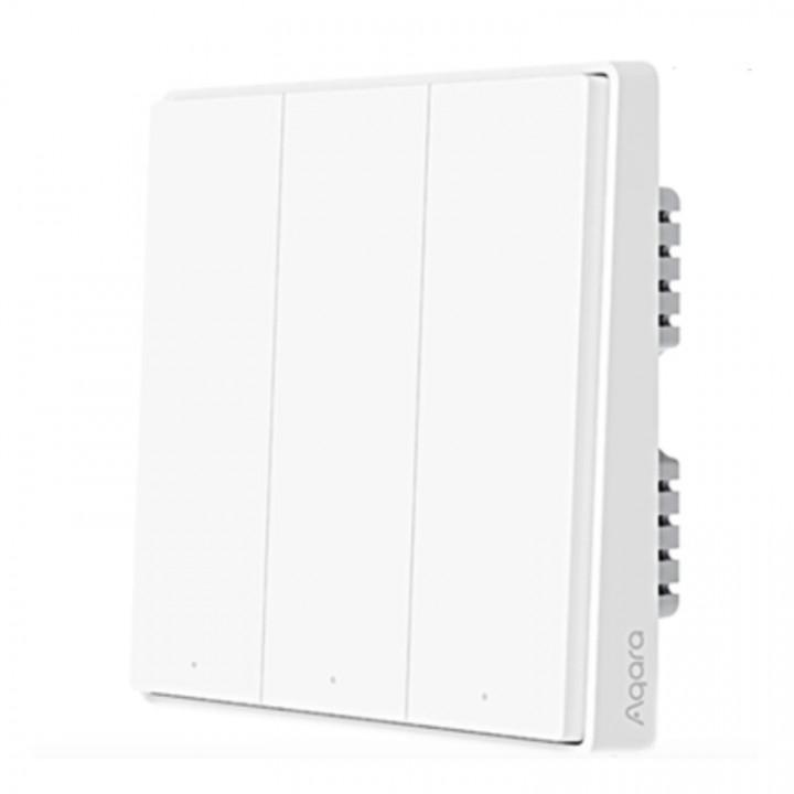 Умный выключатель (тройной, с нулевой линией) Xiaomi Aqara Wall Light Switch D1 ZigBee (QBKG26LM)