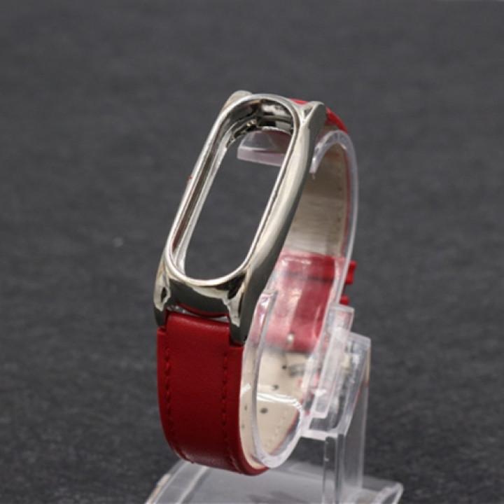 Кожаный браслет mijobs  для Xiaomi Mi Band 2 Leather  красный/серебро