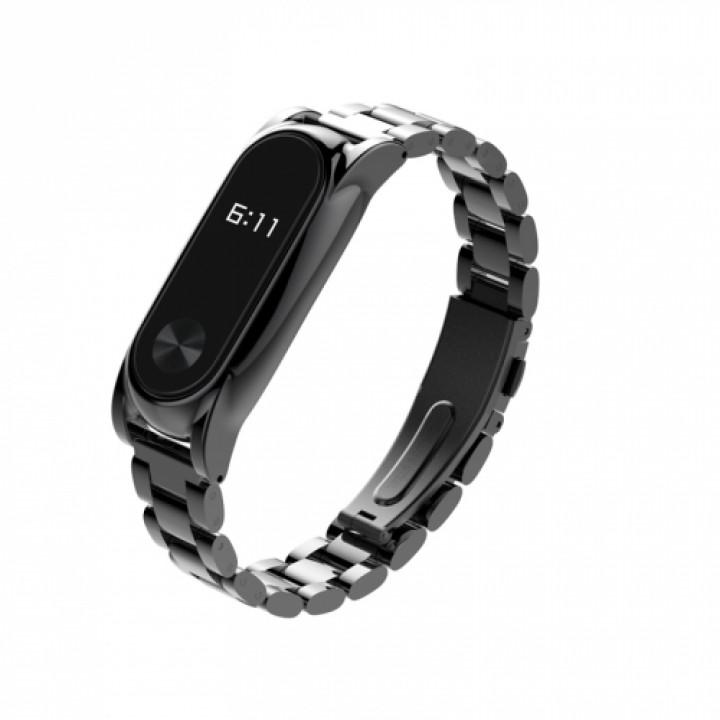 Ремешок на руку Mijobs Steel для Xiaomi Mi Band 2 black