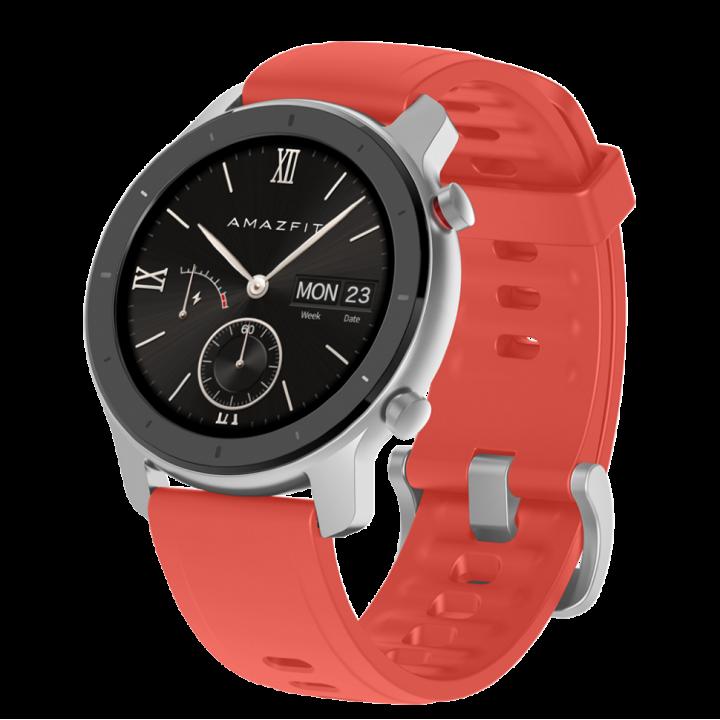 Часы Amazfit GTR 42mm aluminium case, silicone strap red