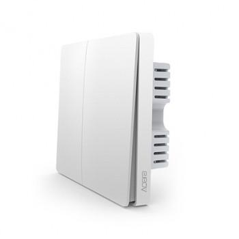 Выключатель с электронной коммутацией Aqara QBKG12LM, белый Smart Light Switch Control Zigbee 2-х кнопочный встраиваемый (with neutral) (QBKG12LM/AK016CNW01)