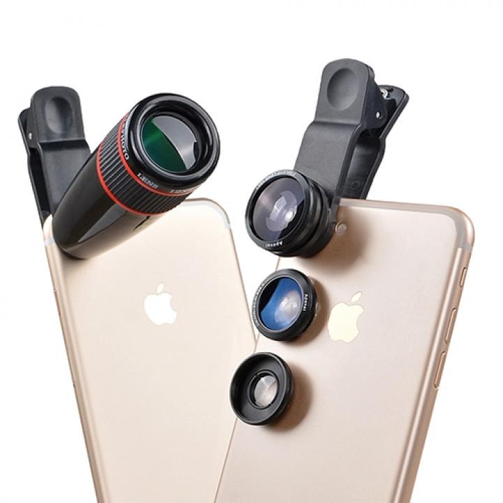 Объектив Apexel APL-12CX3 12X Telephoto Optical Zoom Lens+ Wide Angle & Macro+ Fisheye для Apple iPhone 5/6/7, Plus моделей и других