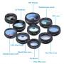 Объектив Apexel APL-DG10 10 lenses Clip 198 Fisheye + 0.63X Wide + Macro + Kaleidoscope Lens для Apple iPhone 6/7/8 Plus смартфонов