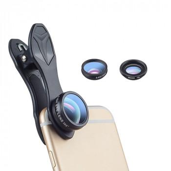 Apexel APL-DG3H 0.63x wide + 15x macro+198° fisheye lens