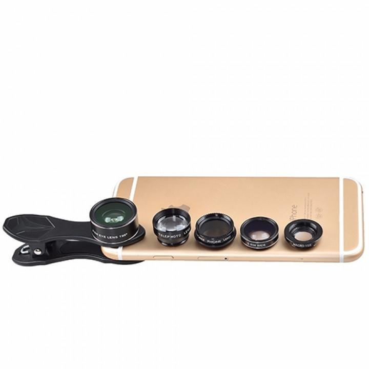 Объектив apexel APL-DG5H 5-In-1 Clip 198 degree Fisheye + 0.63X Wide Angle+15X Macro Lens для Apple iPhone 5/6/7, Plus моделей и другие