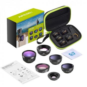 Apexel APL-DG6 120° wide+15x macro+210° fisheye lens +2x zoom+CPL Lens+Star filter