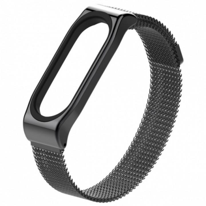 Ремешок на руку Mijobs Milanese Stainless Steel для Xiaomi Mi Band 3/4 black