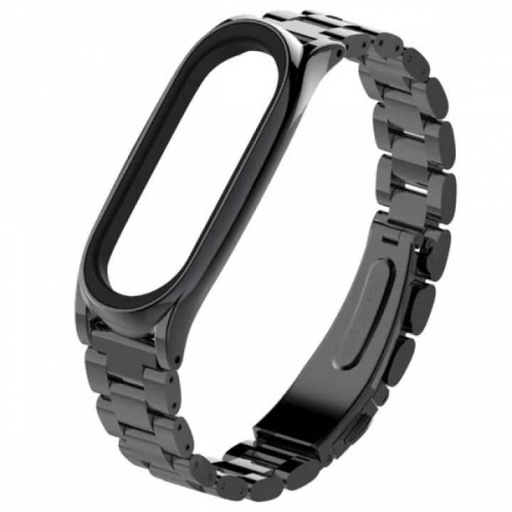 Ремешок на руку Mijobs Steel classific Three beads для Xiaomi Mi Band 3/4 black