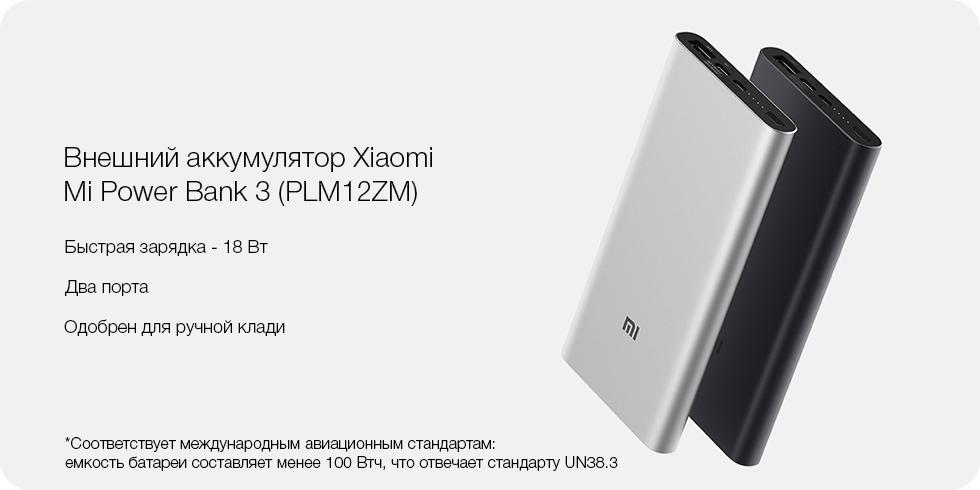 Внешний аккумулятор Xiaomi Mi Power Bank 3 10000 (PLM12ZM) черный robot4home.ru