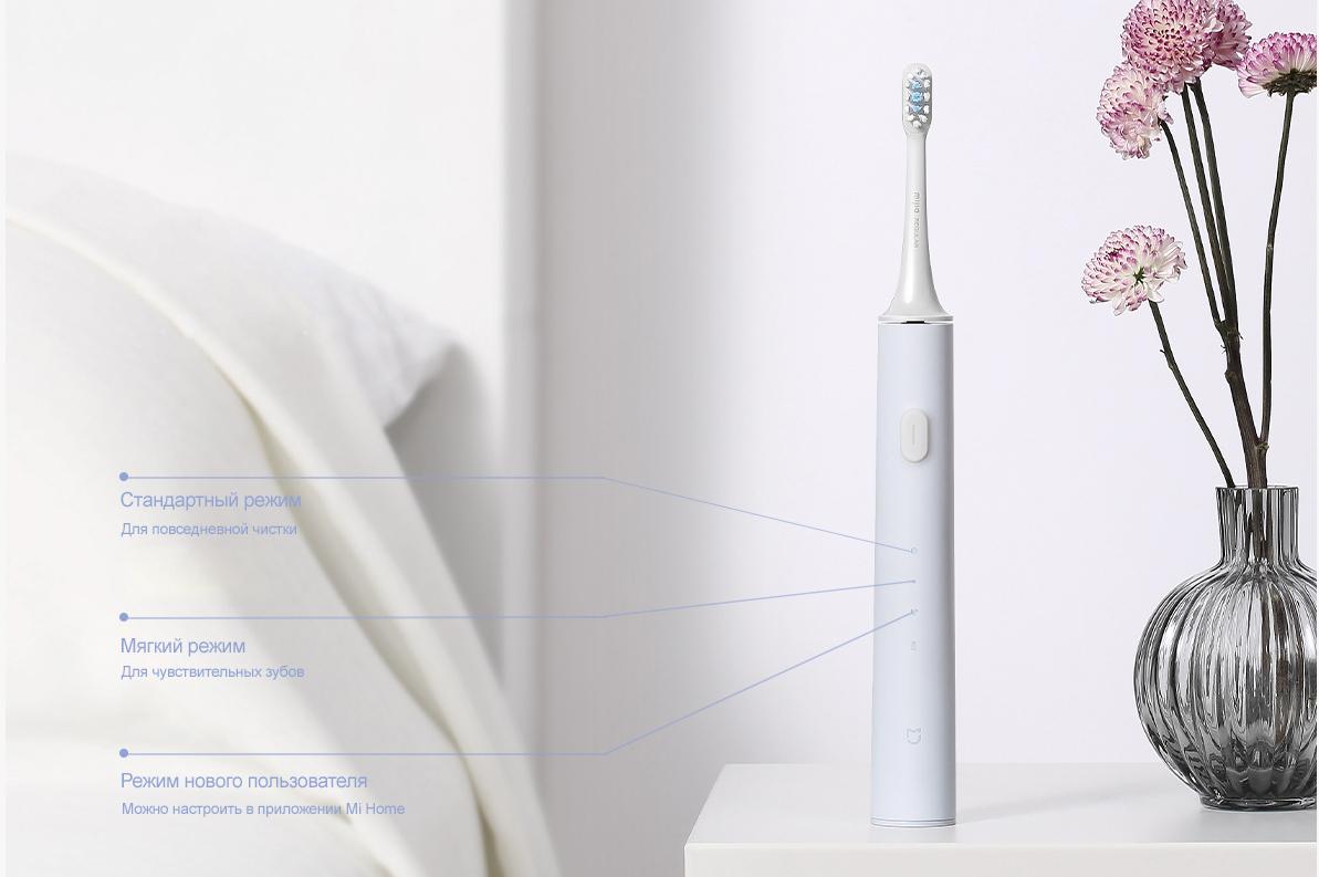 Электрическая зубная щетка Xiaomi Mijia Sonic Electric Toothbrush T500 синяя robot4home.ru