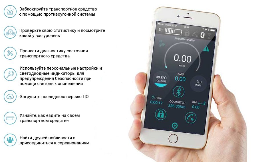 Моноцикл Ninebot by Segway One S2 фирменное приложение Ninedroid™