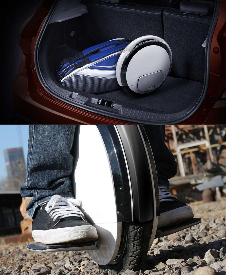 Моноцикл Ninebot by Segway One S2 в багажнике авто и на каменистой местности